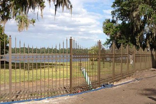 fence along lake