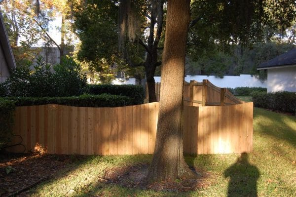wooden fence around yard