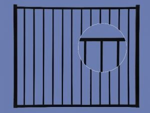 Aluminum Gate 4h x 4w 2-Rail – BLK