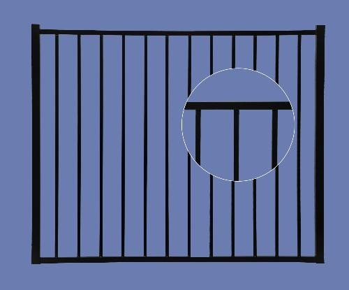 Aluminum Gate 4h x 4w 2-Rail - BLK