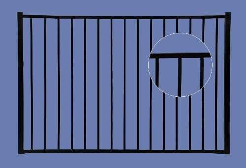 Aluminum Gate 4h x 6w 2-Rail - BLK