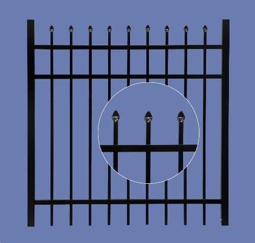 """aluminum gate 4h x 4w 3 rail spear top 5/8"""" - BLK"""