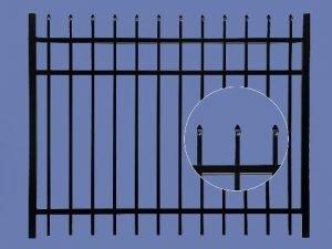 aluminum gate 4h x 6w 3 rail spear top 5/8″ – BLK