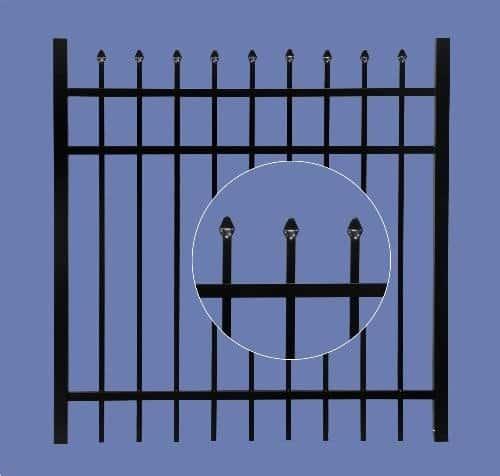 """aluminum gate 5h x 4w 3 rail spear top 5/8"""" - BLK"""