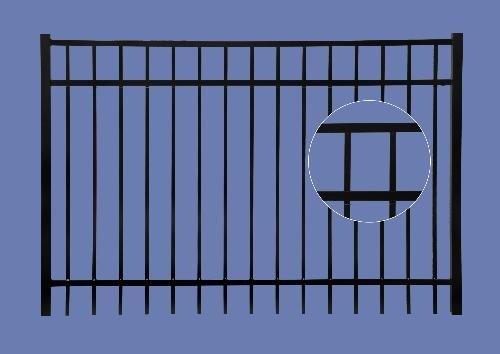 """aluminum gate 4h x 6w 3 rail flat top 5/8"""" - BLK"""