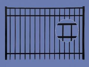 aluminum gate 5h x 6w 3 rail flat top 5/8″ – BLK