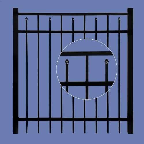 "aluminum gate 4h x 4w 3 rail boxed spear  5/8"" - BLK"