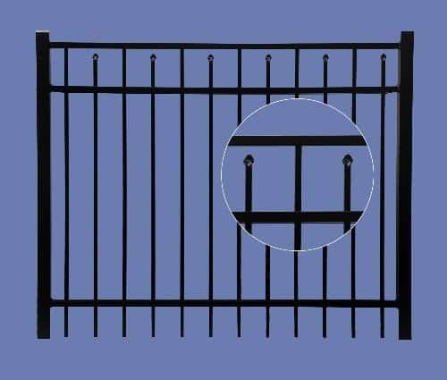 "aluminum gate 4h x 5w 3 rail boxed spear 5/8"" - BLK"