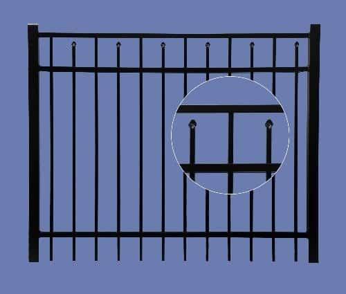 "aluminum gate 4h x 6w 3 rail boxed spear 5/8"" - BLK"