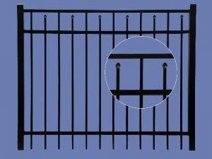 aluminum gate 5h x 5w 3 rail boxed spear 5/8″ – BLK