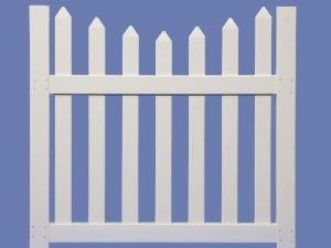 4 X 4 CONTEMPORARY SCALLOP WALK GATE FOR 4 HIGH 7/8 X 3 PICKET SHARP – WHT