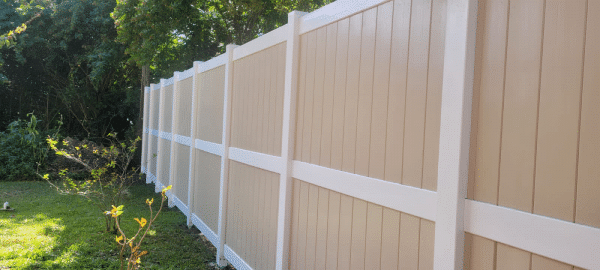 vinyl fence tan and white